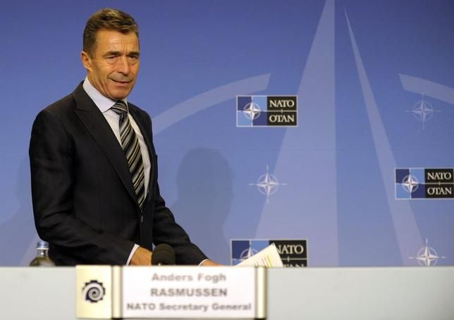 NATO Secretary-General Anders Fogh Rasmussen arrives for a news conference at the Residence Palace in Brussels September 1, 2014. REUTERS/Laurent Dubrule