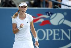 Sep 1, 2014; New York, NY, USA; Ekaterina Makarova (RUS) reacts during her match against Eugenie Bouchard (CAN) on day eight of the 2014 U.S. Open tennis tournament at USTA Billie Jean King National Tennis Center. Jerry Lai-USA TODAY Sports