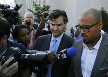 Chris Brown deixa tribunal em Washington. 02/09/2014 REUTERS/Gary Cameron