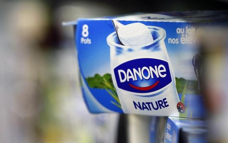 Yoghurt produced by French Dairy Group Danone are displayed on a shelf in a supermarket in Lanton, Southwestern France, August 30, 2013. REUTERS/Regis Duvignau