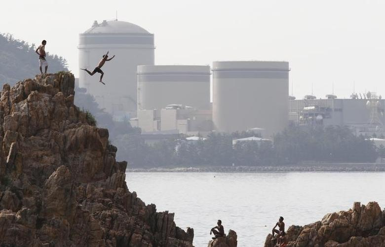 A man on vacation dives into the sea as Kansai Electric Power Co.'s Mihama nuclear power plant is seen in the background in Mihama town, Fukui prefecture, July 2, 2011.   REUTERS/Issei Kato