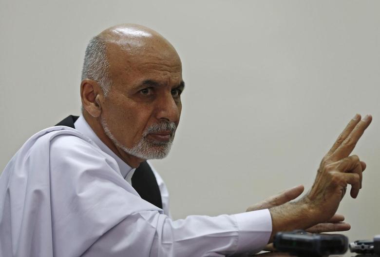 Afghan presidential candidate Ashraf Ghani Ahmadzai speaks to media in Kabul August 12, 2014. REUTERS/Omar Sobhani