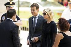Television personality Ivanka Trump and husband Jared Kushner arrive to attend the funeral of comedienne Joan Rivers at Temple Emanu-El in New York September 7, 2014. REUTERS/Lucas Jackson