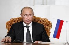 Presidente russo, Vladimir Putin, durante ato com homólogo da Mongolia,  Tsakhia Elbegdorj (fora da foto), em Ulan Bator. 03/09/2014 REUTERS/B.Rentsendorj
