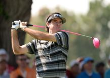 Sep 6, 2014; Cherry Hills Village, CO, USA; Bubba Watson tees off from the 17th hole during the third round of the BMW Championship at Cherry Hills Country Club. Mandatory Credit: Ron Chenoy-USA TODAY Sports