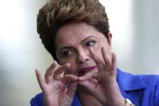 Presidente Dilma Rousseff, candidata à reeleição pelo PT, durante entrevista coletiva no Palácio do Alvorada. 10/09/2014 REUTERS/Ueslei Marcelino