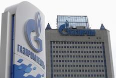La casa matriz de Gazprom en Moscú, jun 27 2014. Estados Unidos impuso el viernes sanciones contra el mayor banco de Rusia, un importante fabricante de armas y compañías que desarrollan exploración de petróleo de esquisto en el Ártico y en aguas profundas, en una nueva ronda de medidas contra Moscú por su participación en la crisis en Ucrania.  REUTERS/Sergei Karpukhin
