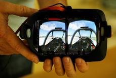 The stereoscopic view of an airplane cockpit is seen after the lenses are removed from a Vrvana virtual reality headset in Toronto September 12, 2014. . REUTERS/Chris Helgren