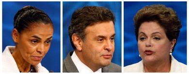 Foto mostra candidatos à Presidência Marina Silva, Aécio Neves e Dilma Rousseff.   REUTERS/Paulo Whitaker