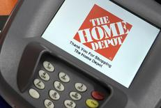 A closeup of an electronic payment station is shown at a Home Depot store in Daly City, California, in this February 21, 2012 file photo.  REUTERS/Beck Diefenbach