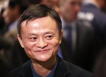 El fundador del grupo Alibaba Jack Ma en la bolsa de comercio de Nueva York, sep 19 2014. Las acciones de la minorista china Alibaba debutaron el viernes en la Bolsa de Nueva York con un precio de 92,70 dólares por papel, muy por encima de los 68 dólares del valor de colocación en su Oferta Pública Inicial.        REUTERS/Lucas Jackson