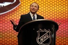 Jun 27, 2014; Philadelphia, PA, USA; NHL commissioner Gary Bettman addresses the crowd before the 2014 NHL Draft at Wells Fargo Center. Mandatory Credit: Bill Streicher-USA TODAY Sports