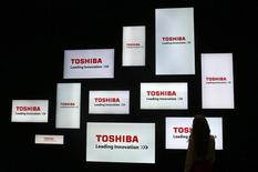 A visitor looks at a display of Japan's Toshiba company during the IFA Electronics show in Berlin September 4, 2014.    REUTERS/Hannibal Hanschke