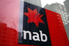A National Australia Bank (NAB) logo is pictured on an automated teller machine (ATM) in central Sydney September 12, 2014.    REUTERS/David Gray