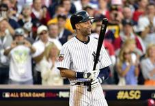 Jul 15, 2014; Minneapolis, MN, USA; American League infielder Derek Jeter (2) of the New York Yankees comes up to bat in the first inning during the 2014 MLB All Star Game at Target Field. Mandatory Credit: Scott Rovak-USA TODAY Sports