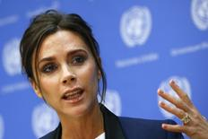 Victoria Beckham speaks during a news conference at the U.N. headquarters in New York, September 24, 2014. The Joint United Nations Program on HIV/AIDS (UNAIDS) appointed designer Victoria Beckham as UNAIDS International Goodwill Ambassador.  REUTERS/Shannon Stapleton