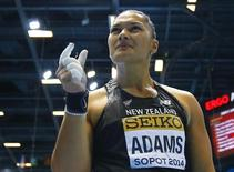 Valerie Adams of New Zealand reacts during the women's shot put final at the world indoor athletics championships at the ERGO Arena in Sopot March 8, 2014.                   REUTERS/Kai Pfaffenbach