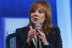 "Mary Barra, Chief Executive Officer for General Motors Company, speaks during the plenary session titled ""Valuing What Matter"" at the Clinton Global Initiative 2014 (CGI) in New York, September 23, 2014. REUTERS/Shannon Stapleton"