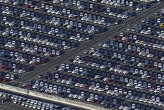 An aerial view shows cars parked at the port of Montoir-de-Bretagne near Saint-Nazaire, western France, September 22, 2014.  REUTERS/Stephane Mahe