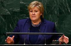 Erna Solberg, Prime Minister of Norway, addresses the 69th United Nations General Assembly at the U.N. headquarters in New York September 25, 2014.                        REUTERS/Lucas Jackson