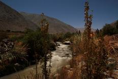 El río El Tránsito, junto al proyecto minero El Morro al norte de Santiago, jun 4 2012. La Corte Suprema de Chile informó el martes que revocó el fallo de un tribunal que había dado luz verde al proyecto de oro y cobre El Morro, de la canadiense Goldcorp, lo que paraliza el desarrollo de la iniciativa de 3.900 millones de dólares.      REUTERS/Ivan Alvarado