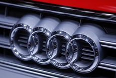 An Audi logo is seen on a car displayed on media day at the Paris Mondial de l'Automobile, October 2, 2014.  REUTERS/Jacky Naegelen