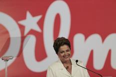 Presidente Dilma Rousseff, que concorre à reeleição pelo PT, durante entrevista coletiva em Brasília, após votação no primeiro turno. 5/10/2014  REUTERS/Ueslei Marcelino