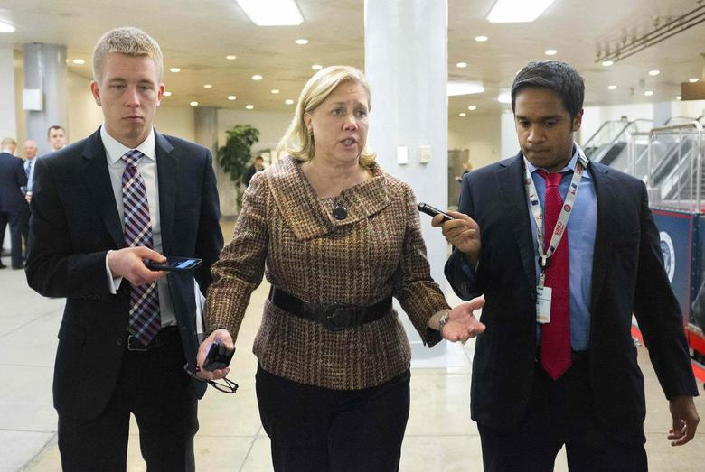 U.S. Senator Mary Landrieu (D-LA) speaks to reporters after the Democratic weekly policy luncheon on Capitol Hill in Washington, in this January 28, 2014 file photo.    REUTERS/Joshua Roberts/Files