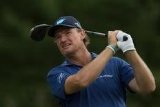 Aug 24, 2014; Paramus, NJ, USA; Ernie Els tees off on the fifth hole during the final round of The Barclays golf tournament at Ridgewood Country Club. Mandatory Credit: Tommy Gilligan-USA TODAY Sports