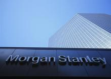 The corporate logo for financial firm Morgan Stanley is pictured on a building in San Diego, California September 24, 2013. REUTERS/Mike Blake/Files