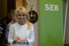 CEO of Swedish SEB Bank Annika Falkengren smiles in Stockholm, in this file portrait picture taken July 14, 2014. REUTERS/Bertil Ericson/TT News Agency