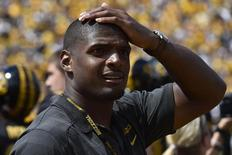 Aug 30, 2014; Columbia, MO, USA; NFL rookie Michael Sam stands on the sidelines of the game between the Missouri Tigers and the South Dakota State Jackrabbits at Faurot Field. Mandatory Credit: Jasen Vinlove-USA TODAY Sports