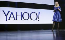 La directrice générale de Yahoo, Marissa Mayer. Le portail internet a fait part mardi d'une légère hausse de son chiffre d'affaires au troisième trimestre, surpassant les prévisions des analystes, en dépit des difficultés persistantes dans ses activités de publicités sur écran. /Photo prise le 7 janvier 2014/REUTERS/Robert Galbraith