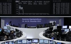 Les Bourses européennes marquent le pas à mi-séance mercredi et les futures à Wall Street laissent présager une ouverture en baisse des marchés américains. À Paris, le CAC 40 abandonnait 0,15% vers 12h30, après son bond de 2,25% mardi. Le Dax à Francfort a lui aussi succombé à la tendance baissière, cédant 0,05%, et le FTSE lâche 0,17% à Londres. /Photo prise le 22 octobre 2014/    REUTERS