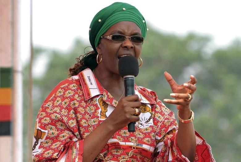Zimbabwe's First Lady Grace Mugabe addresses her maiden political rally in Chinhoyi October 2, 2014, after she was nominated to head the Zanu PF ruling party women's league two months ago. REUTERS/Philimon Bulawayo