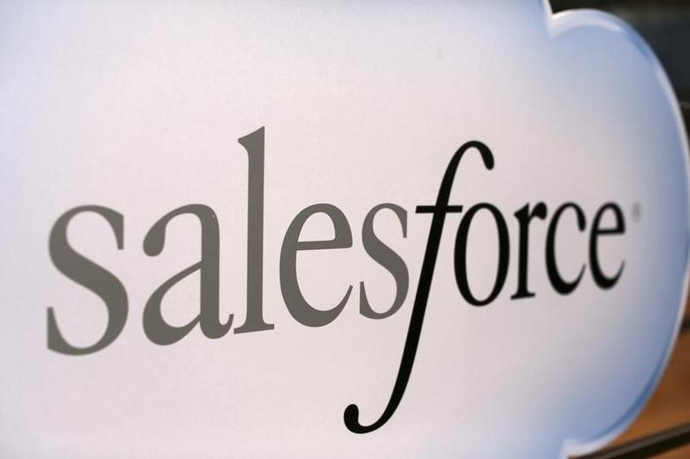 A Salesforce sign is seen during the company's annual Dreamforce event, in San Francisco, California November 18, 2013. REUTERS/Robert Galbraith