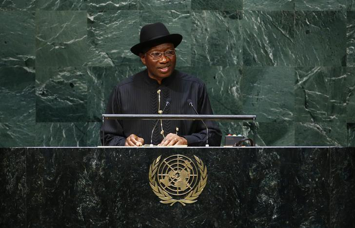 Nigerian president Goodluck Ebele Jonathan addresses the 69th United Nations General Assembly at the U.N. headquarters in New York September 24, 2014.       REUTERS/Lucas Jackson