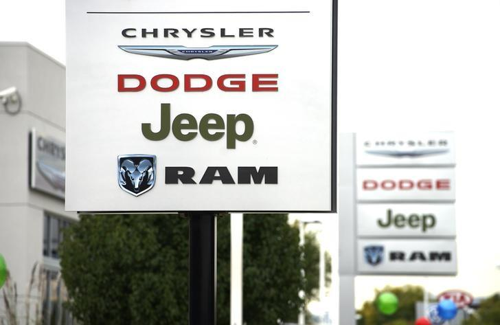 A view of a sign outside a Chrysler auto dealer in Broomfield, Colorado October 1, 2014.  REUTERS/Rick Wilking