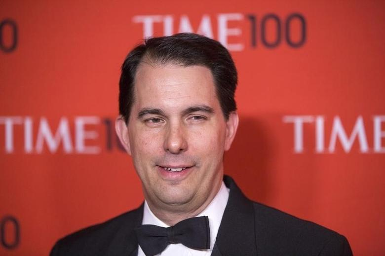 Honoree and politician Scott Walker arrives at the Time 100 gala celebrating the magazine's naming of the 100 most influential people in the world for the past year in New York April 29, 2014. REUTERS/Lucas Jackson