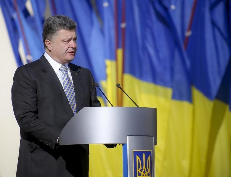Ukraine's President Petro Poroshenko speaks during a ceremony for the Day of the State Flag in Kiev August 23, 2014. REUTERS/Mykhailo Markiv/Pool