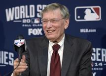 Oct 22, 2014; Kansas City, MO, USA; MLB commissioner Bud Selig speaks at a press conference before game two of the 2014 World Series between the Kansas City Royals and the San Francisco Giants at Kauffman Stadium. Mandatory Credit: Christopher Hanewinckel-USA TODAY Sports
