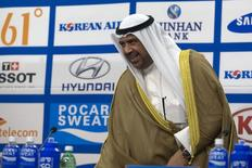 Olympic Council of Asia (OCA) President Sheikh Ahmad Al-Fahad Al-Sabah arrives at a news conference at the Main Media Centre of the 17th Asian Games in Incheon September 21, 2014. REUTERS/Rob Dawson
