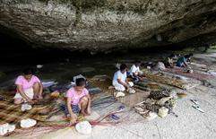Typhoon Haiyan survivors weave mats in a cave in Basey, Eastern Samar, in central Philippines November 6, 2014. REUTERS/Erik De Castro
