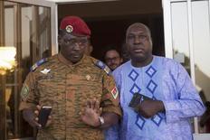 Lieutenant Colonel Yacouba Isaac Zida (L) meets with opposition leader Zephirin Diabre in Ouagadougou, capital of Burkina Faso, November 2, 2014. REUTERS/Joe Penney