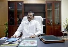 Shripad Naik, India's new minister in charge of the department of Ayurveda, Yoga and Naturopathy, Unani, Siddha and Homeopathy (AYUSH), sits inside his office in New Delhi November 11, 2014. REUTERS/Anindito Mukherjee