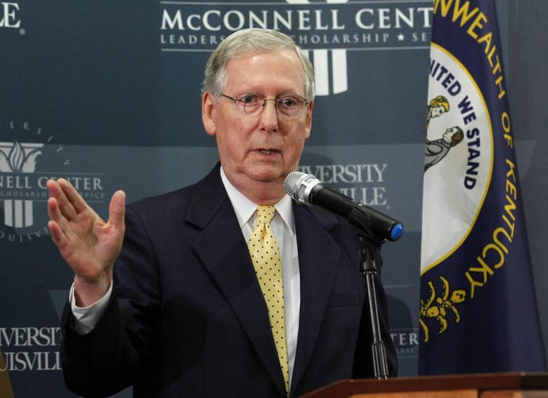 U.S. Senate minority leader Mitch McConnell holds a news conference on the day after he was re-elected to a sixth term to the U.S. Senate at the University of Louisville in Louisville, Kentucky, November 5, 2014.   REUTERS/John Sommers II