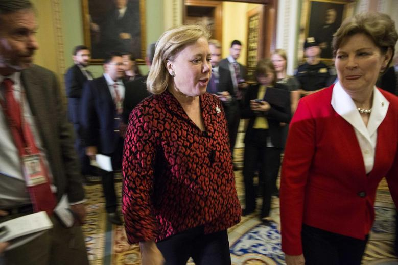Senator Mary Landrieu (D-LA) arrives for a closed conference meeting to conduct leadership elections for the next Congress on Capitol Hill in Washington November 13, 2014.    REUTERS/Joshua Roberts