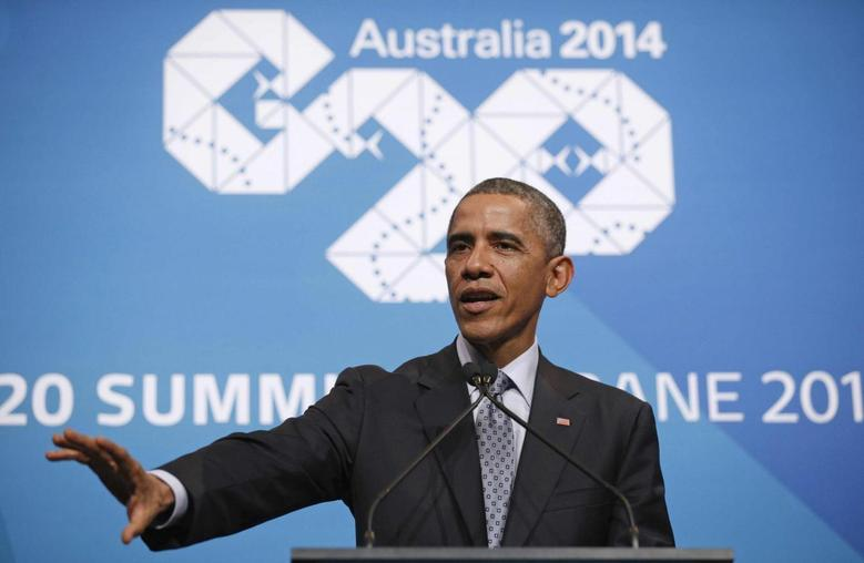 U.S. President Barack Obama speaks at a news conference at the conclusion of the G20 Summit in Brisbane November 16, 2014. REUTERS/Kevin Lamarque