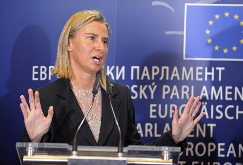 Newly elected EU Foreign Policy Chief, Italian Foreign Minister Federica Mogherini, holds a news conference at the European Parliament in Brussels September 2, 2014.  REUTERS/Laurent Dubrule