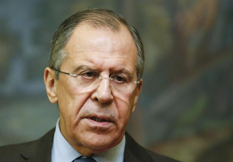 Russia's Foreign Minister Sergei Lavrov speaks during a news conference after a meeting with his Saudi Arabian counterpart Saud al-Faisal in Moscow, November 21, 2014. REUTERS/Maxim Zmeyev